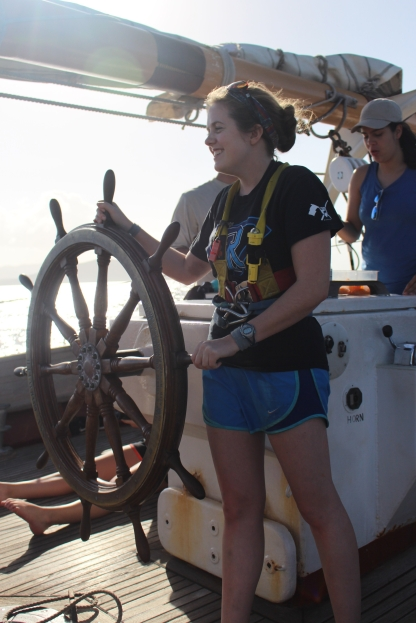 Bridget Hall (S17) at the helm of the Corwith Cramer