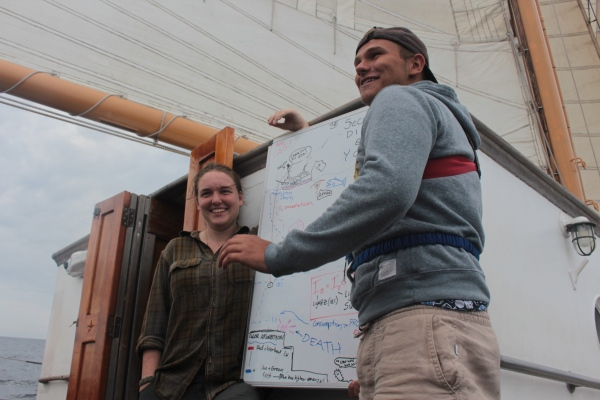 two students present a hand-draw poster aboard a ship