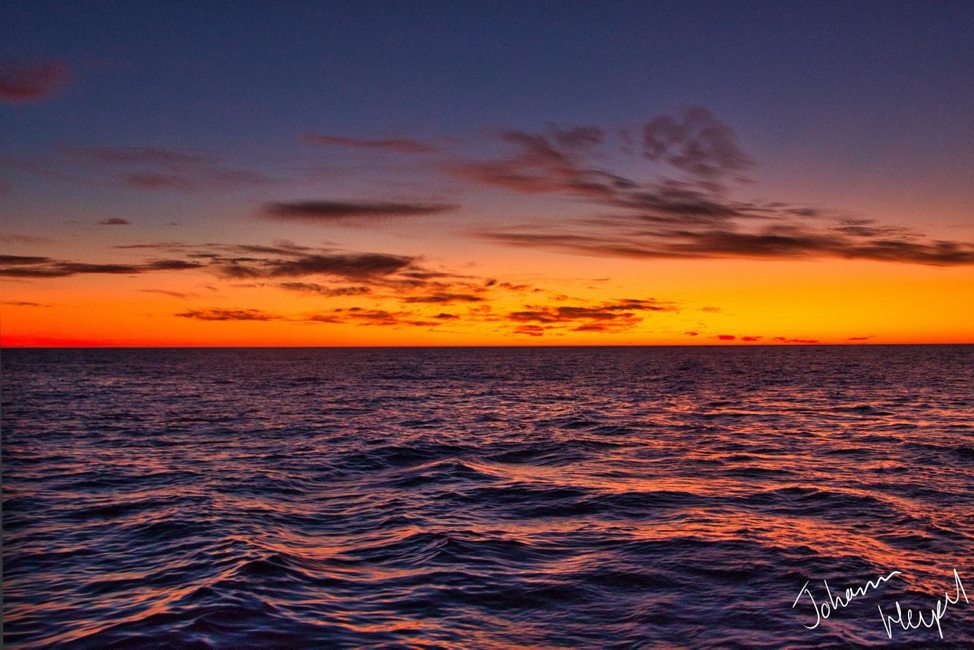 Picture shows the ocean at sunset, the sky illuminated and brilliant and the gentle waves reflecting its light