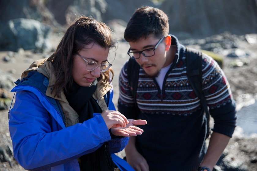 Two students gaze intently at a small marine creature (not visible) held in one student's hand. A rocky shoreline is visible in the background.